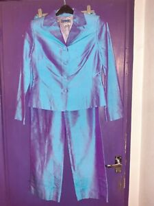 Austin Reed Ladies 2 Tone Trouser Suit 2 Piece Silk Size 8 Ebay