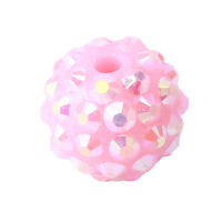 24x 110282+ Free Shipping Pink Resin Rhinestones Charms Spacer Ball Beads 14mm