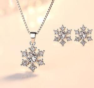 925-Sterling-Silver-Snowflake-Stud-Earrings-Pendant-Necklace-Womens-Jewellery-UK