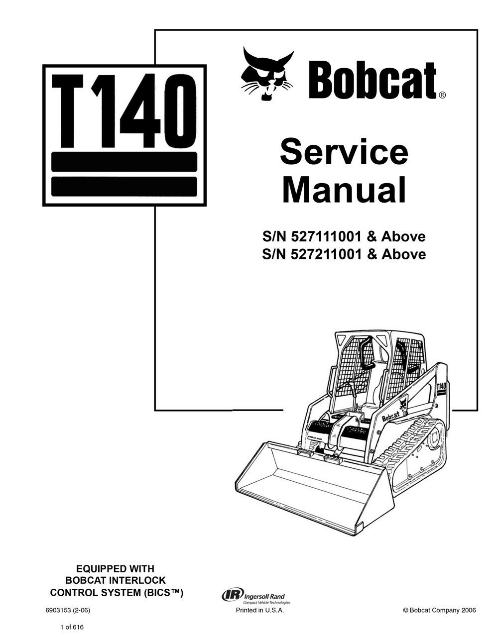 Bobcat T140 Track Loader Service Manual Shop Repair Book 1 Part # 6903153 |  eBay