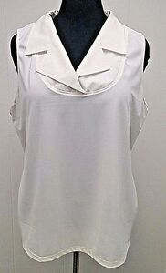UNDER-COVER-AGENT-SLEEVELESS-TANK-SZ-2X-PLUS-WHITE-STRETCH-TOP-BLOUSE-COLLARED