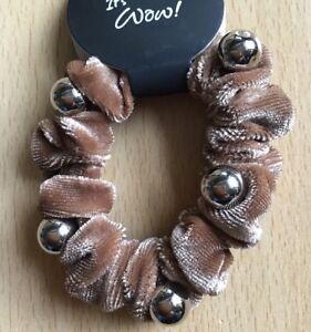 Gelernt A Karamell Beige Velvet Und Gold Wulstig Mini Haargummi Bommel Damen-accessoires Kleidung & Accessoires
