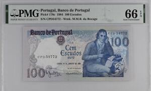 PORTUGAL 100 ESCUDOS 1984 P 178 c GEM UNC PMG 66 EPQ NEW LABEL