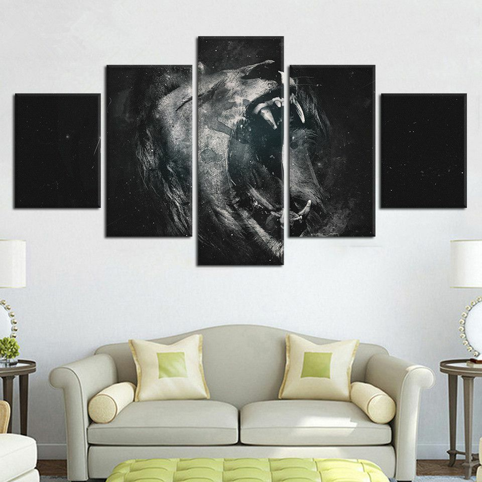 Abstract Roaring Lion Animal 5 Piece Canvas Print Wall Art