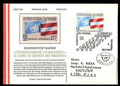 Europe Austria 1990 Participation In United Nations Fdc Cover #c9285 Perfect In Workmanship Stamps