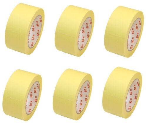 6 Rouleaux PROFESSIONNEL kreppband peintre Crêpes bruns 50mmx50m ruban adhésif abklebeban plat Crêpes bruns 60 °