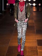 SAINT LAURENT Hedi Slimane $750 zebra print SS14 skinny slim denim jeans 27 NEW