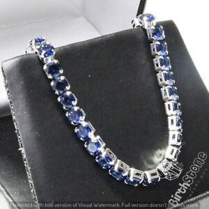 Round-Blue-Sapphire-Tennis-Bracelet-Women-Wedding-Jewelry-18K-White-Gold-Plated