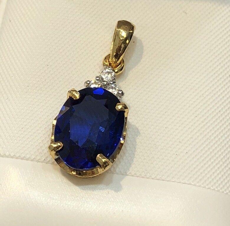 14K Yellow gold Cz Synthetic bluee Sapphire Pendant - Women 2g