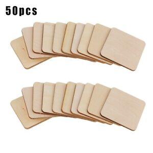 50X-Madera-Forma-Cuadrada-Posavasos-Liso-Manualidades-Blanks-Inacabado-N