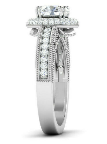 Details about  /2.5Ctw 925 Engagement Sterling Silver Ring Milligrain Double Halo Vintage