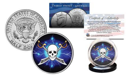 Pirate Swords Black SKULL Genuine Legal Tender JFK Kennedy Half Dollar US Coin