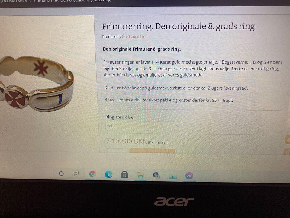 Fingerring, guld, Frimurer 8.gradsring