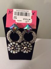 Betsey Johnson Whiteout Round Drop Earrings  Crystal/Silver Ox Womens $45 #244