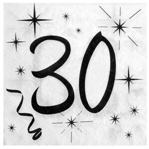 30 Geburtstag Servietten Schwarz Weiss Tischdeko Dekoration Passende