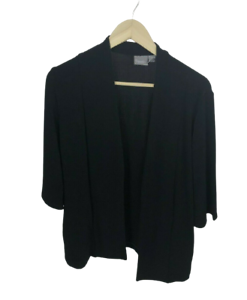 Chico's Travelers Women's Size 1 M Black Open Front Cardigan Sweater 3/4 Sleeve