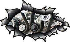Fibra de Carbono Fibra rasgada abierto Rasgado Metal piezas del motor interior V8 Auto Adhesivo