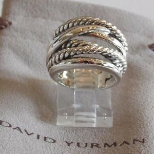 David Yurman Wide CrossOver Sterling Silver Cable Band Ring Size 9 w// Pouch