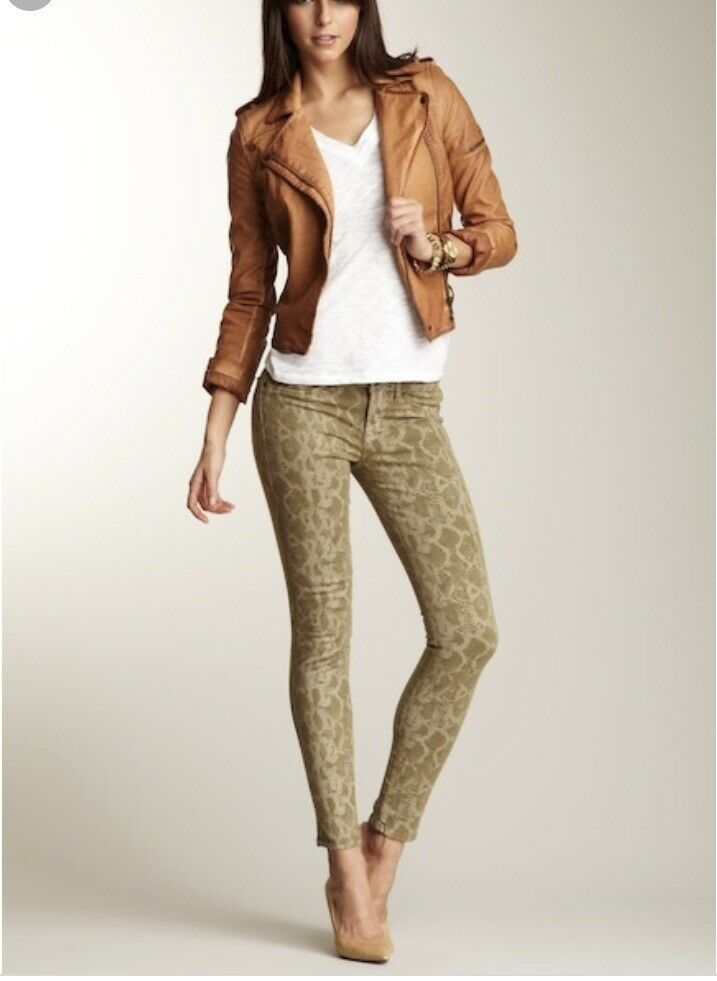 Rich and Skinny Cropped Snakeskin Brown Skinny Jeans Sz 25