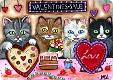 Original Raccoon Artist Kittens Valentines Day Candy Cake Treats Shop ACEO Print