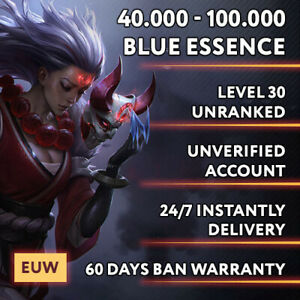 EUW League of Legends LOL Account 40.000 - 100.000 BE Unranked Smurf Level 30 PC