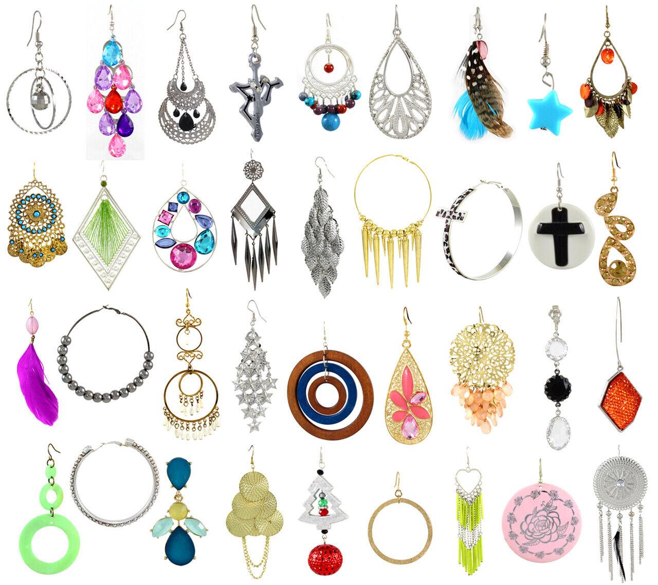 40 Pcs LOT FASHION EARRINGS Hoop Dangle Rings Necklaces Bracelets Bangles Mixed