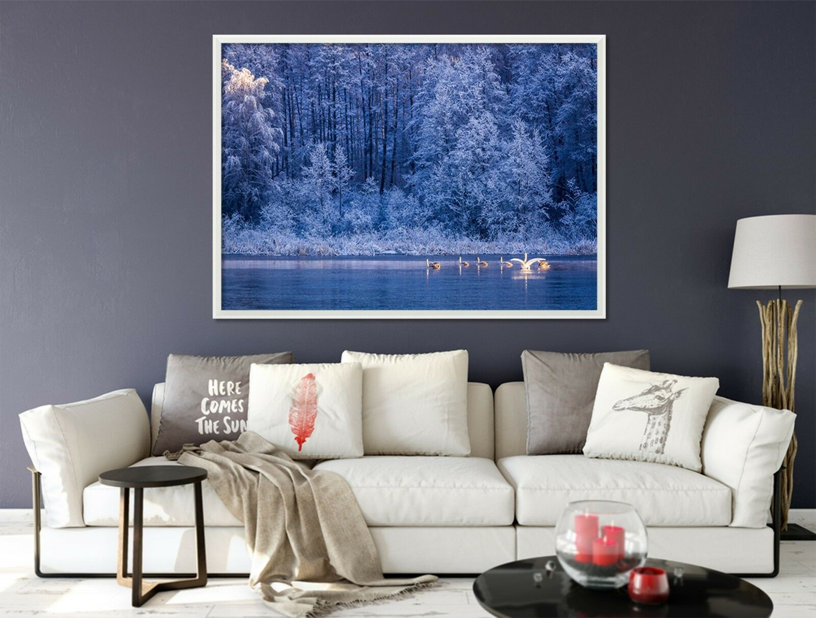 3D Evening Forest Swan Lake 1 Framed Poster Home Decor Print Painting WALLPAPER