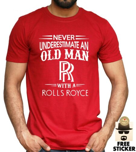 Rolls Royce Mens T shirt Funny Old Man Dad Classic Car Driver Gift Tee S 4XL