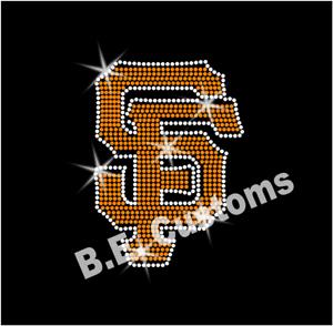 "Iron On, Rhinestone Transfer /""SF Giants/"" Hotfix"