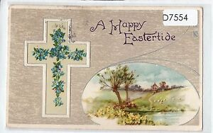 D7554cgt-Greetings-Eastertide-Cross-pu1916-W-amp-K-vintage-postcard