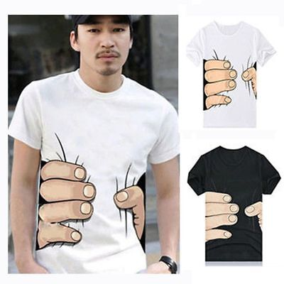 Creative 3D Big Hand Bone Print Short Sleeve T-shirt Tee Summer Fashion Top Men