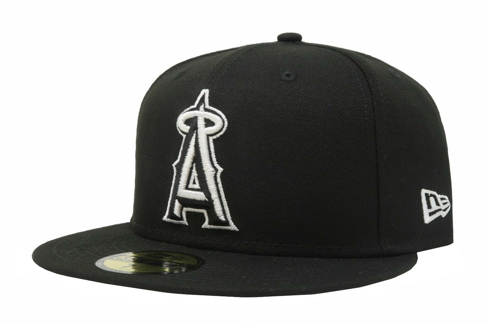 64a617fb518 Era 59fifty Fitted Hat Los Angeles Angels of Anaheim Black White Cap ...