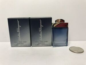 Lot-of-2-Subtil-by-Salvatore-Ferragamo-0-17-oz-5ml-Eau-de-Toilette-Mini-for-Men