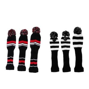3Pcs-Golf-Club-Knit-Head-Cover-Headcover-Set-Vintange-Pom-Pom-Sock-Covers