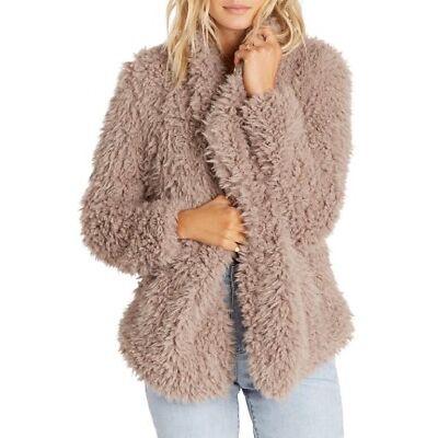 Billabong DO IT FUR LOVE Coconut Shell Faux Fur Drape Open Front Junior's Jacket