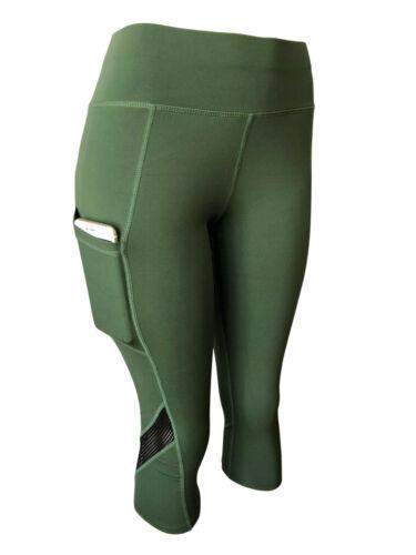 Women Gym Yoga Workout Active Compression Capri Leggings Pants With Pockets Mesh