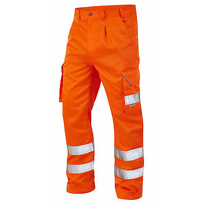 Orange High Visibility Superior Rail Spec Polycotton Cargo Trousers Hi Vis Viz