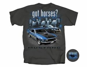 got horses? - Grey Ford Mustang T-Shirt with SVT Cobra & 1969 MACH 1 LAST ONES!