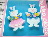 Easter Boy & Girl Bunny Rabbits W/ Colorful Eggs Plastic Canvas Kit Nip