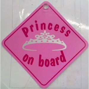 "Princess On Board Pink Girls Car Window Sucker Sign 7.5x7.5/"" Baby On Board"