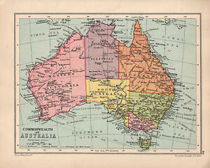 Map Of Australia And Tasmania.1934 Map Australia Victoria Tasmania New South Wales Queensland