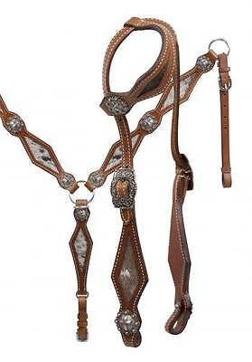 Showman Single Ear Leather Bridle & Breast Collar Set with Hair on Cowhide! TACK