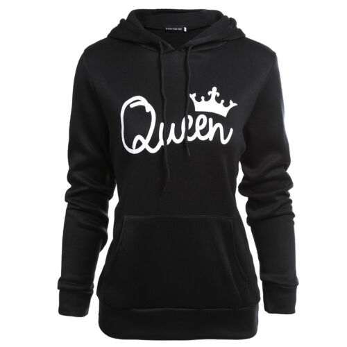 UK Men Women Hoodies Jumper Sweater Top King and Queen Crown Couples Sweatshirts