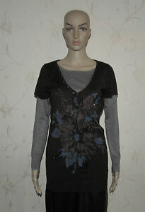 2-Colors-With-Print-Flower-amp-Glitter-M-amp-C-Knitted-Long-Sleeve-Top-Sweater-Jumper