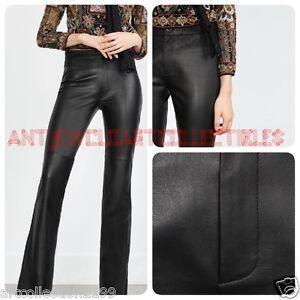 Zara Mujer Otono Invierno Parte Inferior De Campana Pantalones De Cuero 100 Studio Collection R 5479 240 Ebay