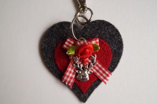 Trachtenschmuck Schlüsselanhänger Herz Filz Rot Grau Tracht Dirndl Landhaus