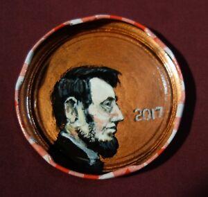 ABRAHAM-LINCOLN-US-President-Jam-Jar-Lid-Portrait-Outsider-Folk-Art-PETER-ORR
