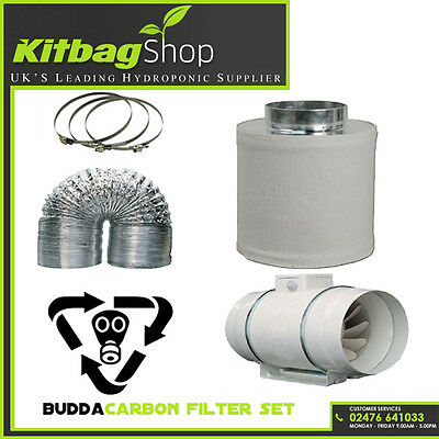 """5"""" Carbon Filter, In Line Fan & Duct Kit - Hydroponic Tent Room Grow Ventilation"""
