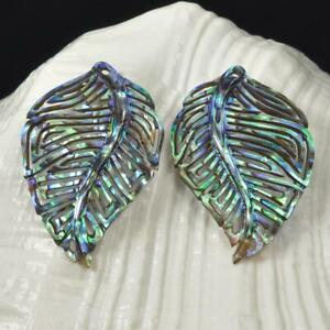Multicolor-Paua-Abalone-Shell-Iridescent-Carved-Abstract-Leaf-Earring-Pair-2-64g
