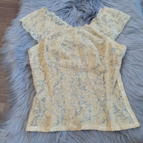 Vintage 1940s Blouse 40s Sheer Lace Cream Side Zip